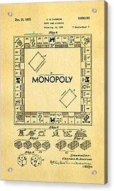 Darrow Monopoly Board Game Patent Art 1935 Acrylic Print by Ian Monk