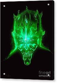 Darth Maul Green Glow Acrylic Print by Saundra Myles