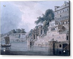 Dasasvamedha Ghat, Benares, Uttar Acrylic Print by Thomas & William Daniell