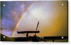 Dash 8 And Rainbow Acrylic Print by Greg Reed