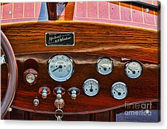 Dashboard In A Classic Wooden Boat Acrylic Print by Les Palenik