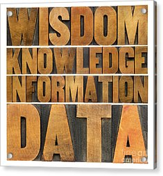 Data Information Knowledge And Wisdom Acrylic Print by Marek Uliasz