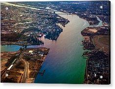Daugawa River. Riga. Latvia. Rainbow Earth Acrylic Print by Jenny Rainbow
