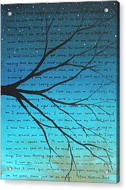 Dave Matthews Band Crush Lyric Art - Blue Acrylic Print