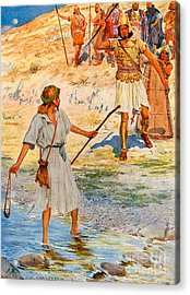 David And Goliath Acrylic Print by William Henry Margetson