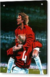 David Beckham And Juan Sebastian Veron Acrylic Print