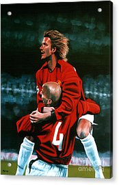 David Beckham And Juan Sebastian Veron Acrylic Print by Paul Meijering
