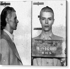 David Bowie Mug Shot Acrylic Print by Dan Sproul