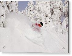 David Downing Skis Powder At Whitefish Acrylic Print by Chuck Haney
