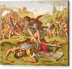 David Slaying The Giant Goliath Acrylic Print by English School