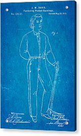 Davis Original Levi's Patent Art 1873 Blueprint Acrylic Print by Ian Monk