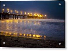 Dawn At Huntington Beach Pier By Denise Dube Acrylic Print