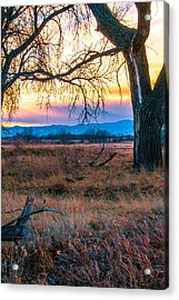 Setting Sun At Rocky Mountain Arsenal Acrylic Print