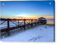 Dawn At The Dock Acrylic Print by Debra and Dave Vanderlaan