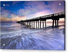 Dawn At The Juno Beach Pier Acrylic Print by Debra and Dave Vanderlaan