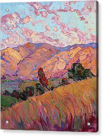 Acrylic Print featuring the painting Dawn Hills - Right Panel by Erin Hanson