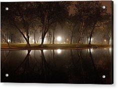 Dawn Mist Rising At Sycamore Pool  Acrylic Print