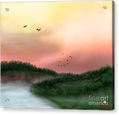 Dawn On The Lake Acrylic Print