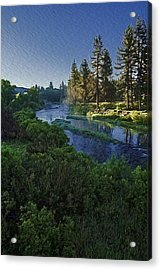 Dawn On The River Acrylic Print by Nancy Marie Ricketts