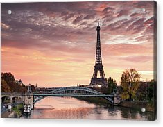 Dawn Over Eiffel Tower And Seine Acrylic Print by Matteo Colombo