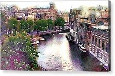Acrylic Print featuring the photograph Dawn Rain Amsterdam by Susan Maxwell Schmidt