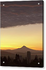 Dawn Sky Over Portland And Mt Acrylic Print by William Sutton