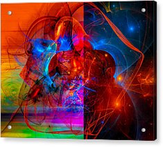 Colorful Digital Abstract Art - Day And Night Acrylic Print