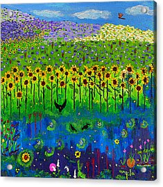 Day And Night In A Sunflower Field I  Acrylic Print