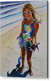 Day At The Beach Acrylic Print by Joy Bradley