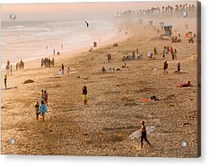 Day At The Beach - Sunset Huntington Beach California Acrylic Print by Ram Vasudev