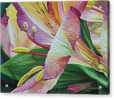 Acrylic Print featuring the painting Day Lilies by Jane Girardot