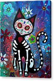 Day Of The Dead Cat Acrylic Print by Pristine Cartera Turkus