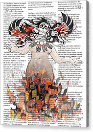 Day Of The Dead Gaia In Flames With Text Illustration Print Acrylic Print by Sassan Filsoof