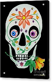 Day Of The Dead Skull 1 Acrylic Print by Lori Ziemba
