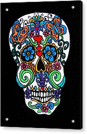 Day Of The Dead Skull Acrylic Print by Genevieve Esson