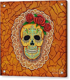 Day Of The Dead With Roses And Lace Acrylic Print by Joseph Sonday