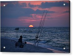 Daybreak On Navarre Beach With Deng The Fisherman Acrylic Print by Jeff at JSJ Photography