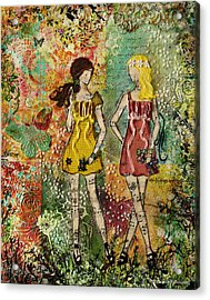 Days Like These Unique Botanical Mixed Media Artwork Of Sisters And Friends Acrylic Print by Janelle Nichol