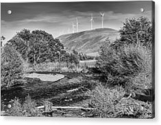 Acrylic Print featuring the photograph Dayton River Monochrome by Chris McKenna