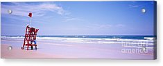 Acrylic Print featuring the photograph Daytona Beach Fl Life Guard  by Tom Jelen