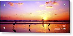 Acrylic Print featuring the photograph Daytona Beach Fl Surf Fishing And Birds by Tom Jelen