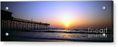Acrylic Print featuring the photograph Daytona Sun Glow Pier  by Tom Jelen