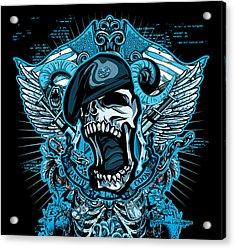 Dcla Designed Skull Combat Medic Acrylic Print by David Cook Los Angeles