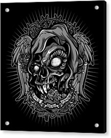 Dcla Skull Cold Dead Hand Gray 3 Acrylic Print by David Cook Los Angeles