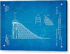 De Bodisco Artificial Sliding Hill Patent Art 1869 Blueprint Acrylic Print by Ian Monk