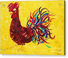 De Colores Rooster Acrylic Print by Eloise Schneider