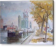 De Maas At Kop Van Zuid Acrylic Print by Dick Carlier