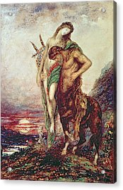 Dead Poet Borne By Centaur Acrylic Print by Gustave Moreau