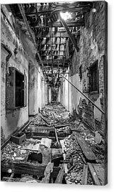 Deadly Corridor - Abandoned Asylum Building Acrylic Print by Gary Heller