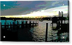 Acrylic Print featuring the painting Deale Maryland Harbour Seascape by G Linsenmayer